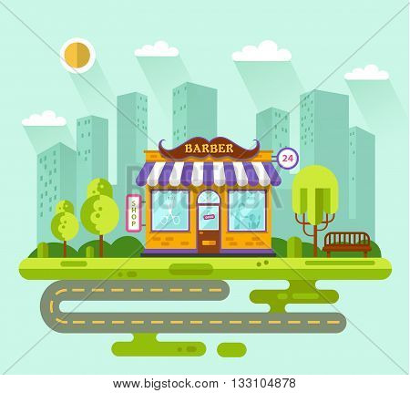 Vector flat style illustration of City landscape with nice barber shop building, street with road, bench, trees and sun. Signboard with big mustache. Barber serve customers.