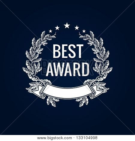 Best award vector laurel wreath sign. Winner label, leaf symbol victory, triumph and success illustration. Best award white laurel label