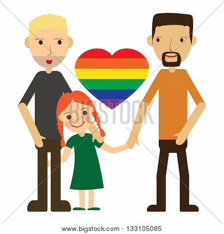 Vector Illustration of a Happy Gay Couple with a kid. Isolated on white background. Standing holding hands smiling loving. Two dads and one cute little daughter.