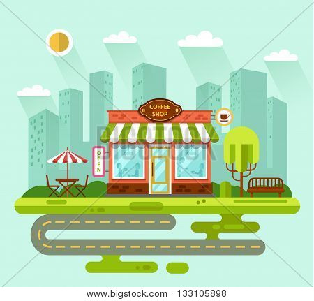 Vector flat style illustration of City landscape with nice coffee shop building, street with road, bench, trees, umbrella, table and chair. People eating, drinking at the tables inside the building.