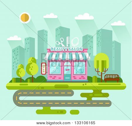 Vector flat style illustration of City landscape with nice beauty or hair salon building, street with road, bench, trees and sun. Signboard with big scissors, hair brush, mirror.