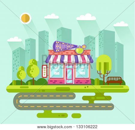 Vector flat style illustration of City landscape with nice beauty shop or cosmetics store building, street with road, bench, trees and sun. Signboard with big perfume bottle, spray.