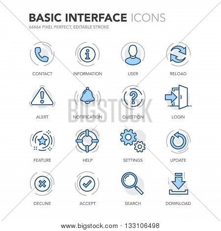 Simple Set of Basic Interface Related Color Vector Line Icons.