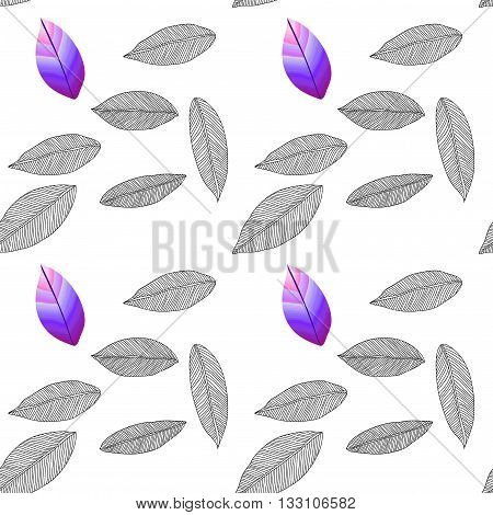 Seamless pattern with colored and uncolored leaves. Can be used as adult coloring book, coloring page, textile pattern. Foliage