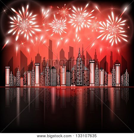 Abstract illustration of fireworks exploding in night sky over downtown city with reflection in water of red shades