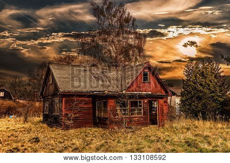 Old wooden house in HDR photo taken in Germany.