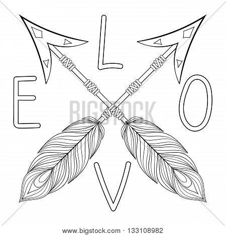 Bohemian  Love Arrow Handpainted Sign with feathers. Hand drawn decorative Arrows for adult coloring pages, art therapy, ethnic patterned t-shirt print, Boho chic tribal style. Doodle Illustration, henna tattoo design.