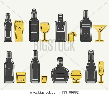 Bottles and glasses vector icons. Thin line icons of alcoholic beverages.