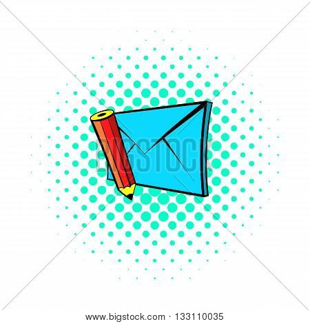 Write e-mail icon in pop-art style on dotted background. Internet and message symbol