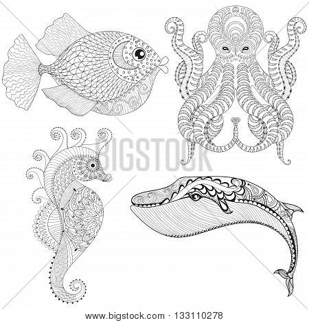 Hand drawn zentangle artistic Octopus, Sea Horse, Whale, Fish for adult therapy coloring pages, ethnic t-shirt print. Ocean animal set. Vector illustration in doodle, henna tattoo design.