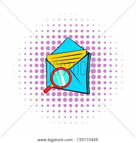 Search e-mail icon in pop-art style on dotted background. Internet and message symbol