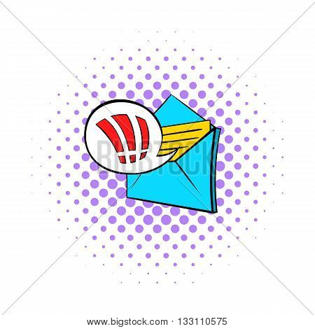 Important e-mail icon in pop-art style on dotted background. Internet and message symbol