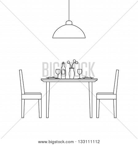 Thin line interior of dining room. Vector line illustration of dining room.