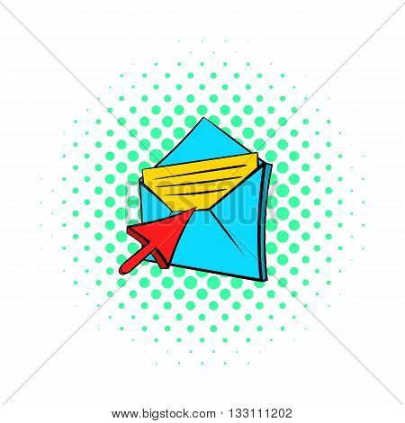 Choice e-mail icon in pop-art style on dotted background. Internet and message symbol