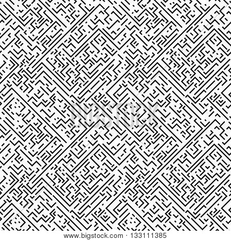 Geometric seamless pattern. Black and white striped repeatable texture. Similar to retro memphis style, fashion 1980s - 1990s.