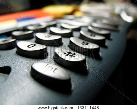 Digital dial button of telephone keypad, closeup