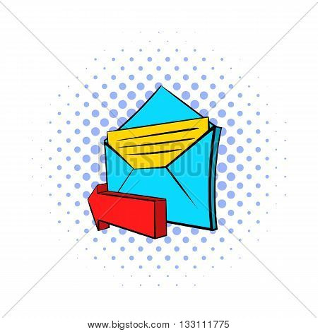 Outgoing e-mail icon in pop-art style on dotted background. Internet and message symbol