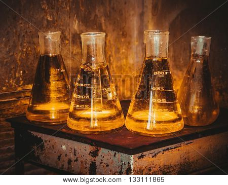flasks with reagents in the test laboratory, FILTERED for retro effect
