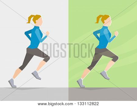Running girl dressed in spring clothes on gray background and background with spring seasonal elements. Running at any season and healthy lifestyle concept
