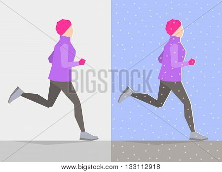 Running girl dressed in winter clothes on gray background and background with winter seasonal elements. Running at any season and healthy lifestyle concept