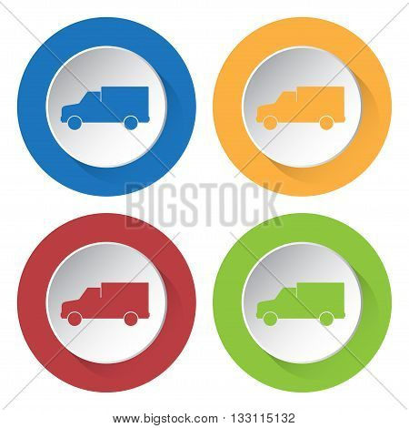 set of four colored icons - lorry car