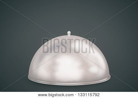 Restaurant cloche with closed lid on dark background. Mock up 3D Rendering
