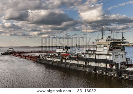 A barge on the river Lena in Yakutia, republic Sakha