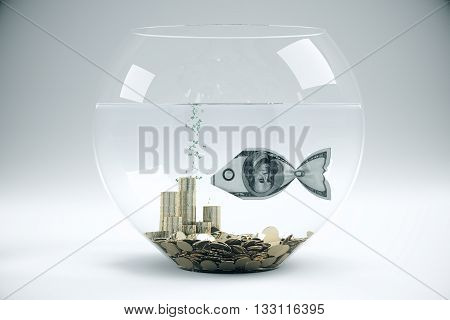 Fish bowl with dollar banknote fish and coins on light grey background. Financial concept. 3D Rendering