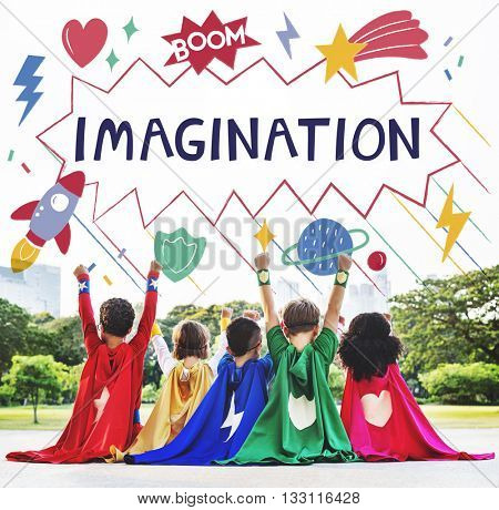 Superhero Kids Imagination Power Helper Concept