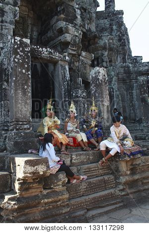 Aspara Dancer At Angkor Wat Resting Before Dancing