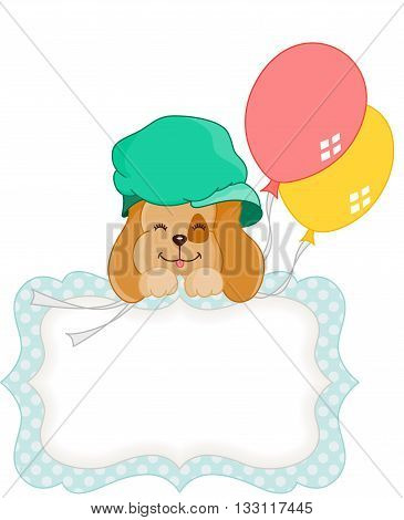 Scalable vectorial image representing a cute dog with balloons blank gift tag, isolated on white.