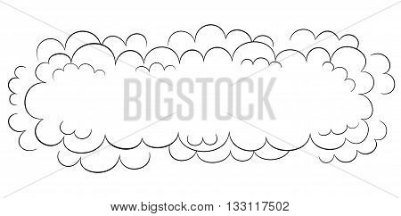 Wide cartoon style black and white vector cloud