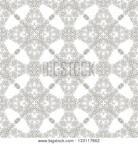 Seamless Texture on White. Element for Design. Ornamental Backdrop. Pattern Fill. Ornate Floral Decor for Wallpaper. Traditional Decor on Background