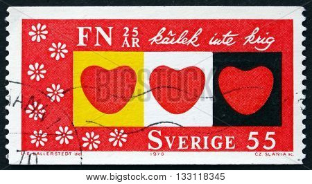 SWEDEN - CIRCA 1970: a stamp printed in the Sweden shows Hearts Love Not War circa 1970