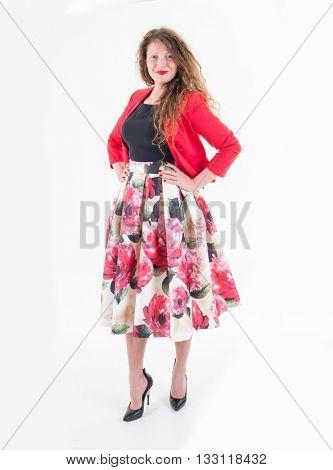 Girl, lace top, fashionable skirt, heels, studio shot, isolated