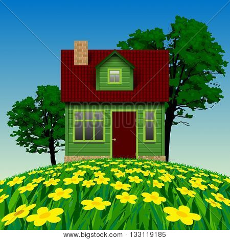 Green realistic house in the summer landscape with a floral meadow and trees. Vector illustration