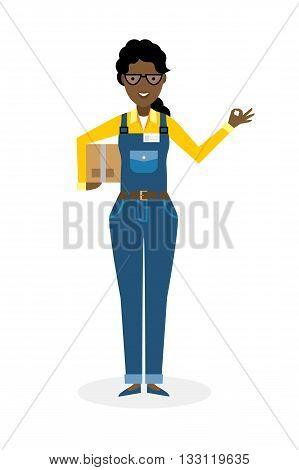 Delivery woman with parcel and ok gesture. Fast transportation. Isolated african american cartoon character on white background. Postwoman, courier with package and ok.