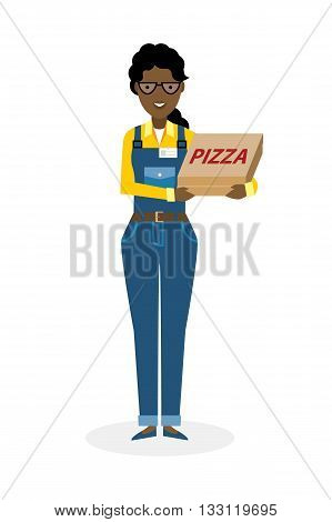 Delivery woman with pizza boxes. Fast transportation. Isolated african american cartoon character on white background. Postwoman, courier with fresh pizza. Handsome smiling female chararcter.