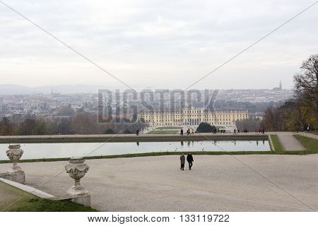View Of Schonbrunn Palace In Vienna, Austria.