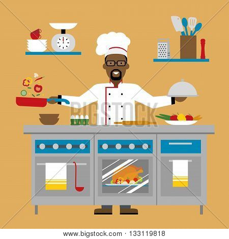 Male african american chef cooking on brown background. Restaurant worker preparing food. Chef uniform and hat. Table and cafe equipment.