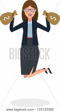 Businesswoman jumping in the air with money bag on white background. Concept of victory, business success and celebrating. Isolated happy businesswoman is excited.