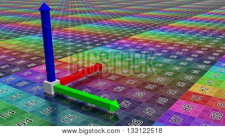 3d coordinate axis background, illustration of technology concept