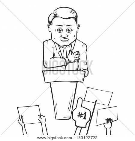 Politician making speach. Vector hand drawn illustration