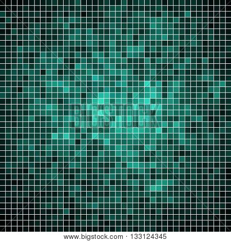 abstract vector square pixel mosaic background- teal