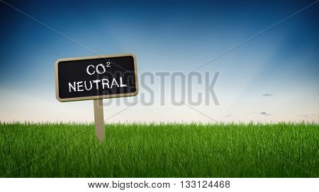 Single black chalkboard sign with white carbon neutral text in green grass under clear blue sky background. 3d Rendering.