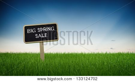 Ground level perspective on big spring sale advertising sign stuck in green turf grass with clear blue sky background. 3d Rendering.