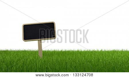 Blank slate signboard on a lush grassy meadow or lawn isolated on a white background with copy space, banner panorama. 3d Rendering.