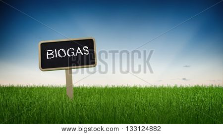 Single black chalkboard sign with white biogas text in green grass under clear blue sky background. 3d Rendering.