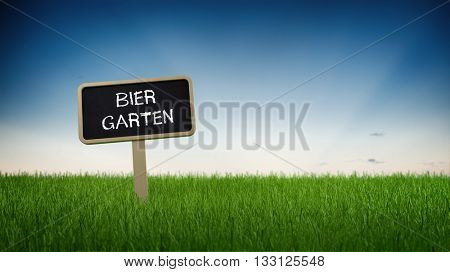 Ground level perspective on German language beer garden sign stuck in neat green grass with clear blue sky background. 3d Rendering.