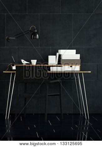 Interior Still Life of Modern Table with Organizers and Lamp in Spacious Office with Black Chair, and Dark Tile Floor and Walls. 3d rendering